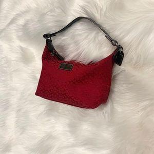 Rich red COACH logo print mini bag